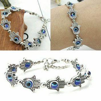 Evil Eye Charm 925 Sterling Silver Antique Womens Hand Link Chain Bracelet NEW