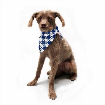 "KESS Original ""Blue Plaid"" Blue White Pattern Digital Pet Bandana"