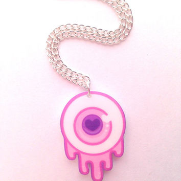 Baby Pink Pastel Kawaii Dripping Eyeball Necklace