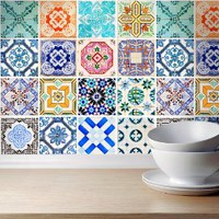 Wall Decals Stickers Decor Traditional Spanish Tiles (Pack with 32) (4 x 4 inches)
