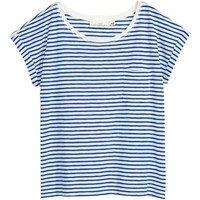 Short-sleeved top - White/Blue striped - Ladies | H&M GB