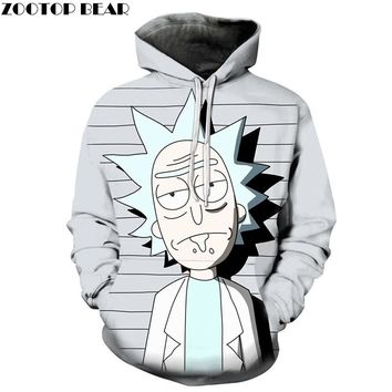 Funny Rick and Morty 3D Printed Gray Hoodie
