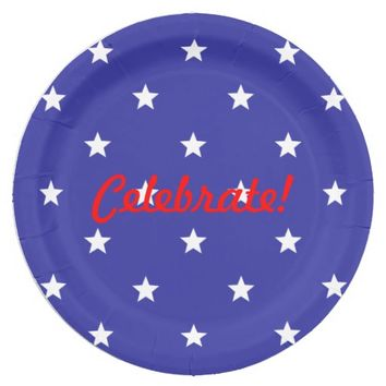 Patriotic Red, White, and Blue Paper Plates