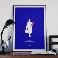 Léon: The Professional Movie Print - Poster Luc Besson, Film Hero, Minimalist Poster, crime thriller film, blue wall art decor, France