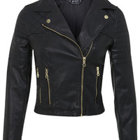 Petites Faux Leather Biker - Coats & Jackets - Apparel