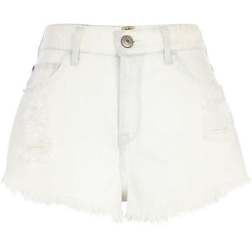 River Island Womens Bleached denim ripped high waisted shorts