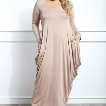 Khaki Flowy Draped Long Sleeves Plus Size Midi Dress