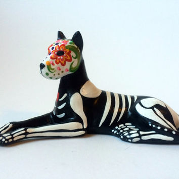 Day of the Dead great dane Dog Sugar Skull pet memorial Dia De Los Muertos sculpture Dog skeleton Halloween decor