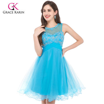 Prom Dress Grace Karin Sexy 2017 Sleeveless Blue Pink Open Back Ball Gown puffy Homecoming Party Dress Short Prom Dresses 6151