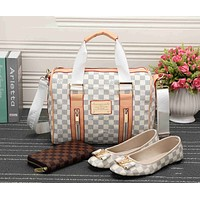 LV Fashion Casual Women Shopping Leather Tote Handbag Shoulder Bag Purse Wallet Single shoe Set  Three-Piece G-KSPJ-BBDL