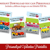 Valentine's Day Cards, Editable Valentines PDF, Personalized Valentines, Cars Valentine Printable, Edit Text with Adobe Reader