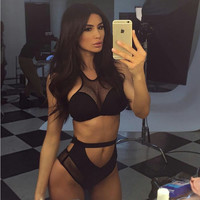 Black Cut Out Mesh Panel Bikini