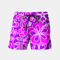 Hibiscus Pink and Purple Pattern Swim Shorts, Live Heroes