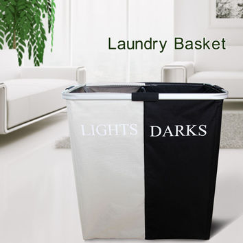 Black+White Folding Double Hamper Laundry Basket Clothes Storage Washing Sorter Organizer Aluminum Handles