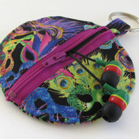 Mardi Gras Circle Earbud Holder Pouch / Masquerade Mask Coin Purse / Mardi Gras Masks