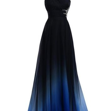 Audrey Bride Gradient Color Prom Evening Dress Beaded Ball Gown