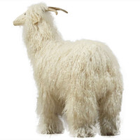 Decorative mountain goat with woolen skin