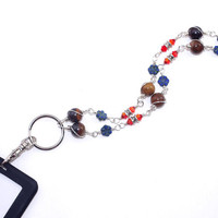 Jasper Work Lanyard – Blue Czech Glass Crystal ID Badge Holder - Semiprecious Stone Jewelry – New Job Gift