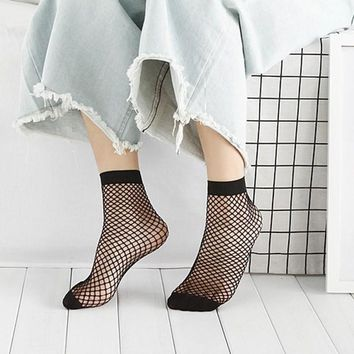 2019 Fashion Women Ruffle Fishnet Socks Mesh Girl Lace Ankle High HOT NEW Vogue
