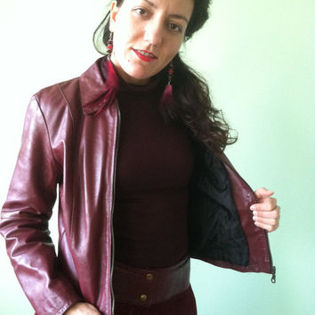 80s Oxblood Biker Jacket, Genuine Leather Maroon FItted Coat, Urban Cropped Blazer, Glam Rock Jacket, Rust Brown Outerwear, Size Small