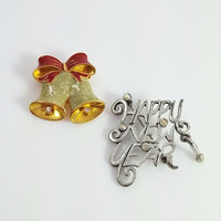 Holiday Brooches - Happy New Year & Christmas Bells Pin Pair