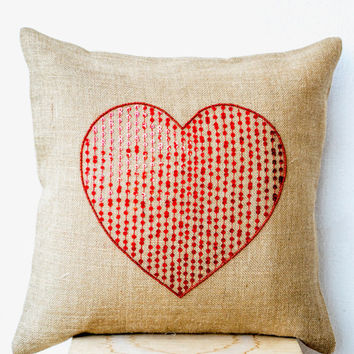 Memorial Day SALE Burlap pillow cover with large sequin red heart- Decorative cushion cover-Valentine gift - Heart Cushion- Throw pillow 18x