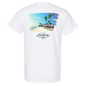 Coastlines Designs Beach Resort Water Color Series on a White T Shirt