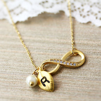 Infinity Necklace w Initial Charm Tiny Leaf Pendant Womens Custom Letter, Crystal Jewelry gift idea Gold or Silver plated