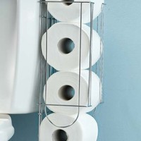 CHROME PLATED METAL SIDE-OF-TANK TOILET PAPER HOLDER