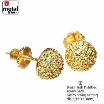 Jewelry Kay style Men's Dome Berry Brass 14K Gold Plated Pave Yellow CZ Screw Back Earrings 943 2G