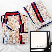 Gucci Fashion Woman Girld More Print Pajamas leisure wear two piece White Beige Blue red Contrast