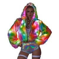 Rainbow Light-Up Sherbert Cropped Rave Coat