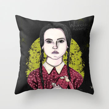 Wednesday Addams Throw Pillow by VinceGabriel