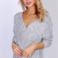 Contemporary Wrap Sweater Grey
