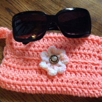 Apple Cell phone holder, Sunglasses case,Hand crochet, soft case, peach color, daisy case, key ring, reading glass case,  cell phone case,