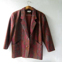 Wool tribal coat. Colorful wool blazer. Geometric printed wool jacket.