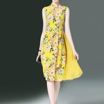 Yellow Double-Layered Floral Women's Day Dress