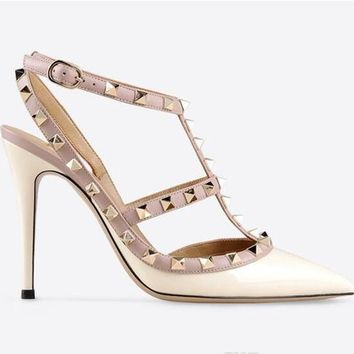 Rivet Stud Nude Strappy Italian Sandals Slingback Colourful Ladies Yellow Shoes Summer T Strap High Heels Pointed Toe Stiletto