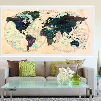 XL Poster Push Pin World Map art Print Photo Paper watercolor yellow green Wall Decor Home (frame is not included)(P03) FREE Shipping USA