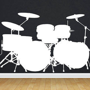 Drum set decal set Sticker Drums decor Music Rock'n'Roll Wall Art Stickers tr262