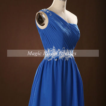 Royal Blue Chiffon Homecoming Dress 2015 One-shoulder Applique Beading Girls Short Dress for Party Summer Style above Knee length Dress gown