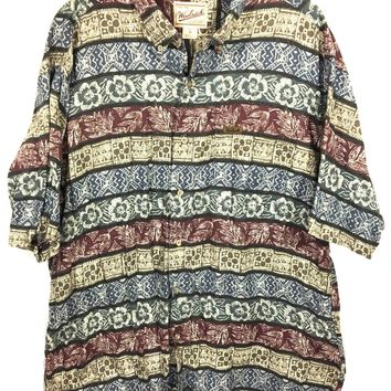 Woolrich Hawaiian Aztec Floral Safari Striped Cotton Button Down Shirt Mens XL - Preowned