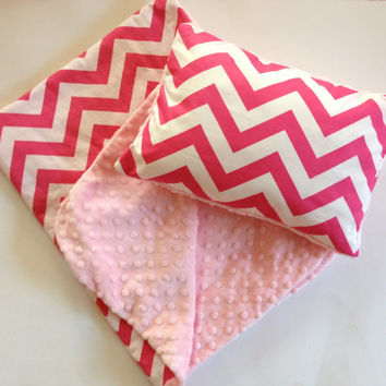 Baby / Toddler Chevron Blanket  and Pillow Set, Baby Minky Blanket, Baby Minky Pillow