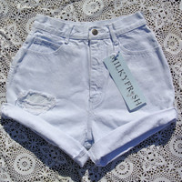 "High Waisted Distressed Vintage Shorts Size 2 Milky Fr3sh ""Erin"""