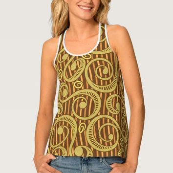 Chocolate Brass Tossing Vines Tank Top