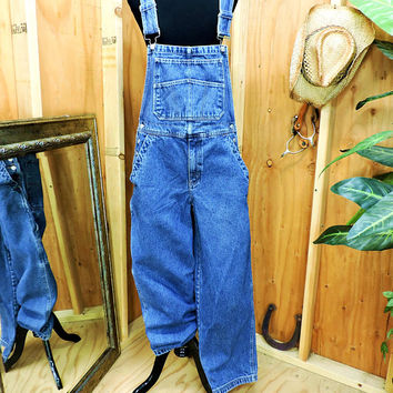 80s Overalls mens M / Faded Glory bib overalls / medium wash heavy denim overalls / utility carpenter overalls