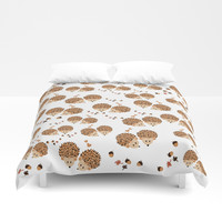 Hedgehogs in autumn Duvet Cover by vanessagf
