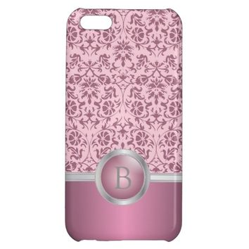 Beautiful Pink Damask Pattern | DIY Monogram Cover For iPhone 5C