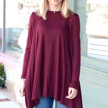 Long Sleeve High Neck Basic Tunic Top {Wine}