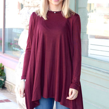 Long Sleeve High Neck Basic Tunic Top {Burgundy}